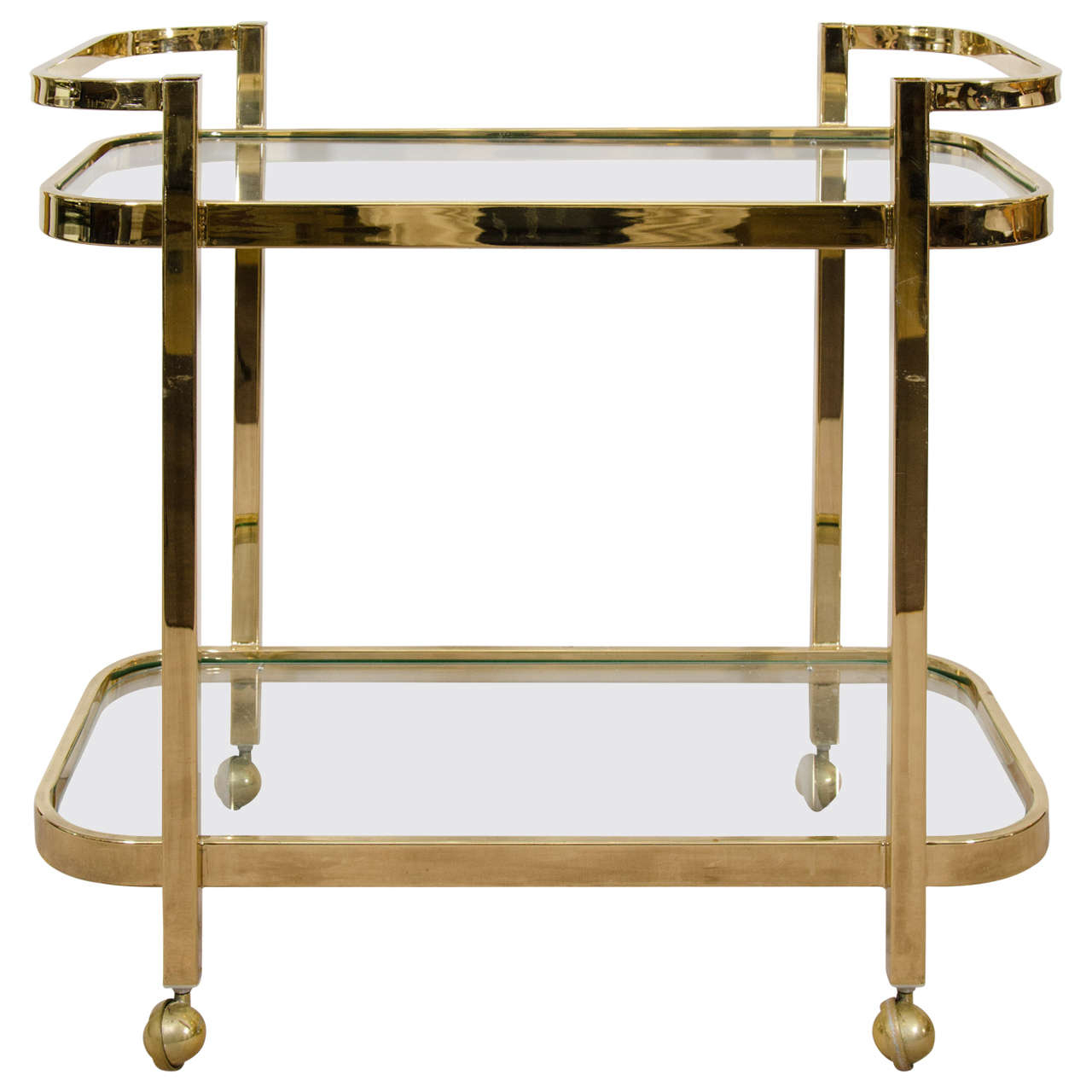 Milo Baughman Brass Bar Cart Florida Regency