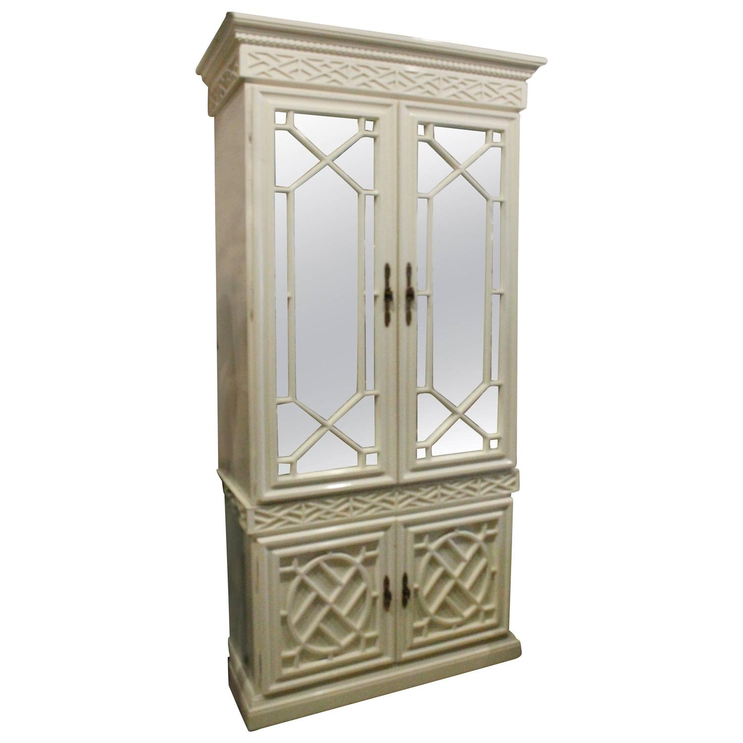Chippendale China Cabinet Vintage Fretwork Chinese Chippendale China Cabinet Armoire Bar