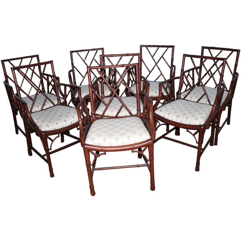 Chinese Chippendale Set Of Eight Faux Bamboo Dining Arm