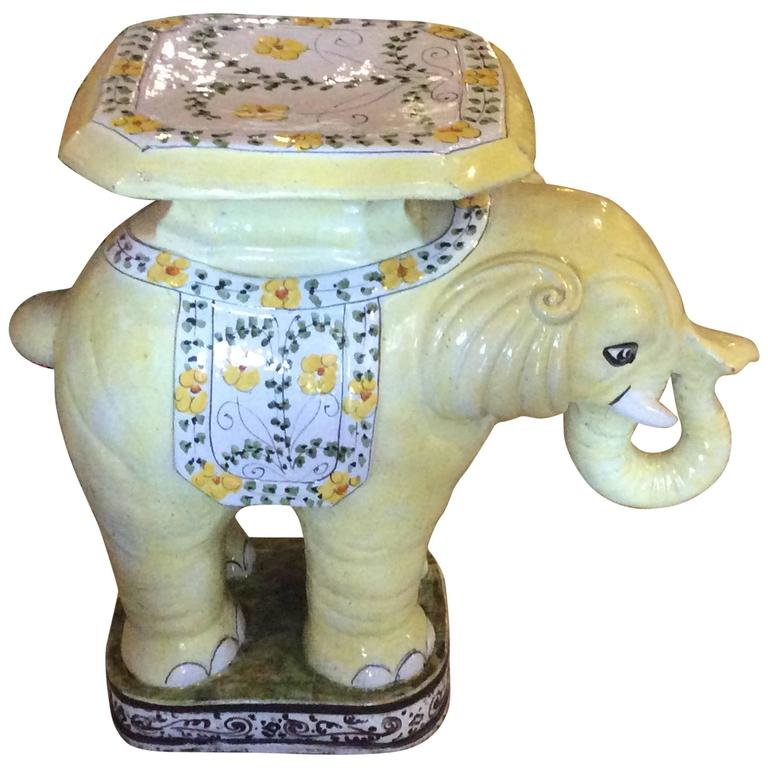 Pleasing Elephant Vintage Terra Cotta Yellow Floral Garden Stand Pabps2019 Chair Design Images Pabps2019Com