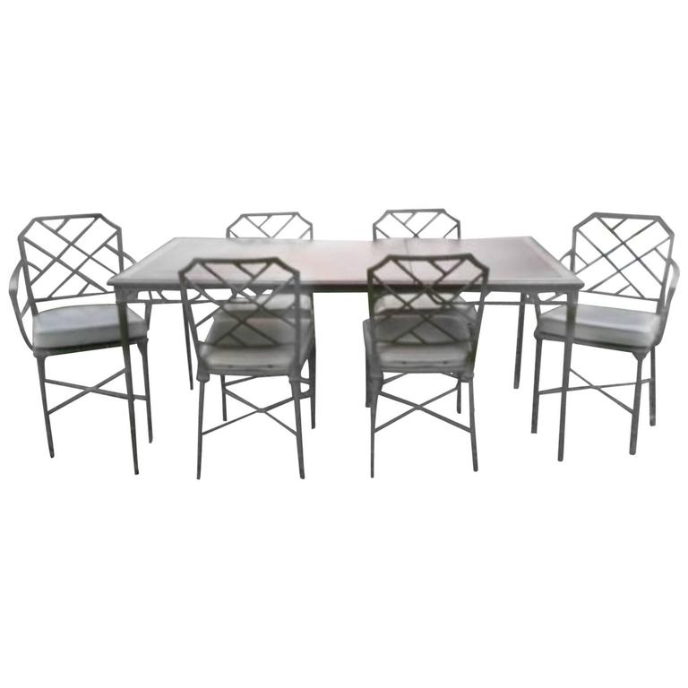 Brown Jordan Seven-Piece Calcutta Faux Bamboo Patio Set of Dining Table  Chairs