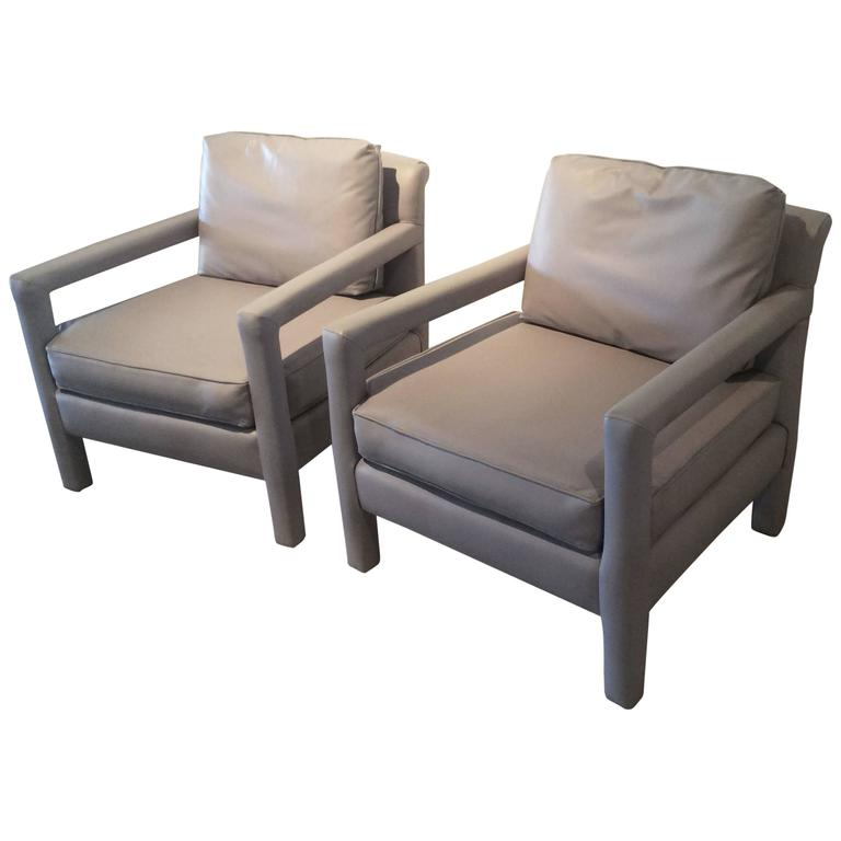 Parsons chairs vintage pair of grey leather arm chairs for What is a parsons chair style