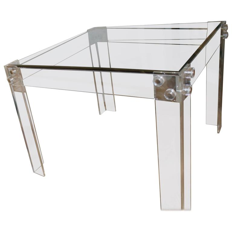 Lucite Dining Game Table Peg Chrome Vintage Square Charles Hollis Jones  Style