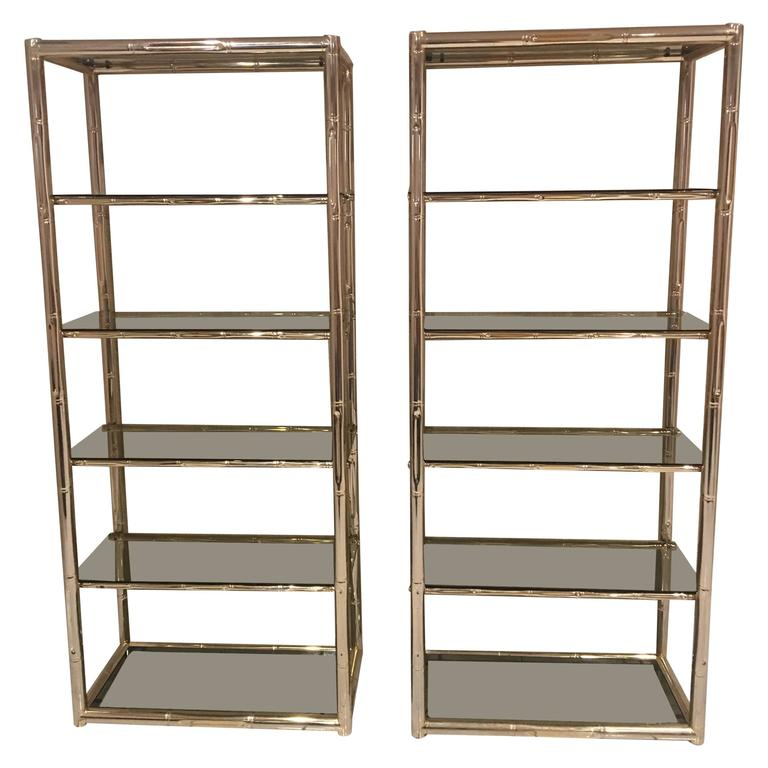 Pair Faux Bamboo Brass Etageres Glass Shelves Florida Regency