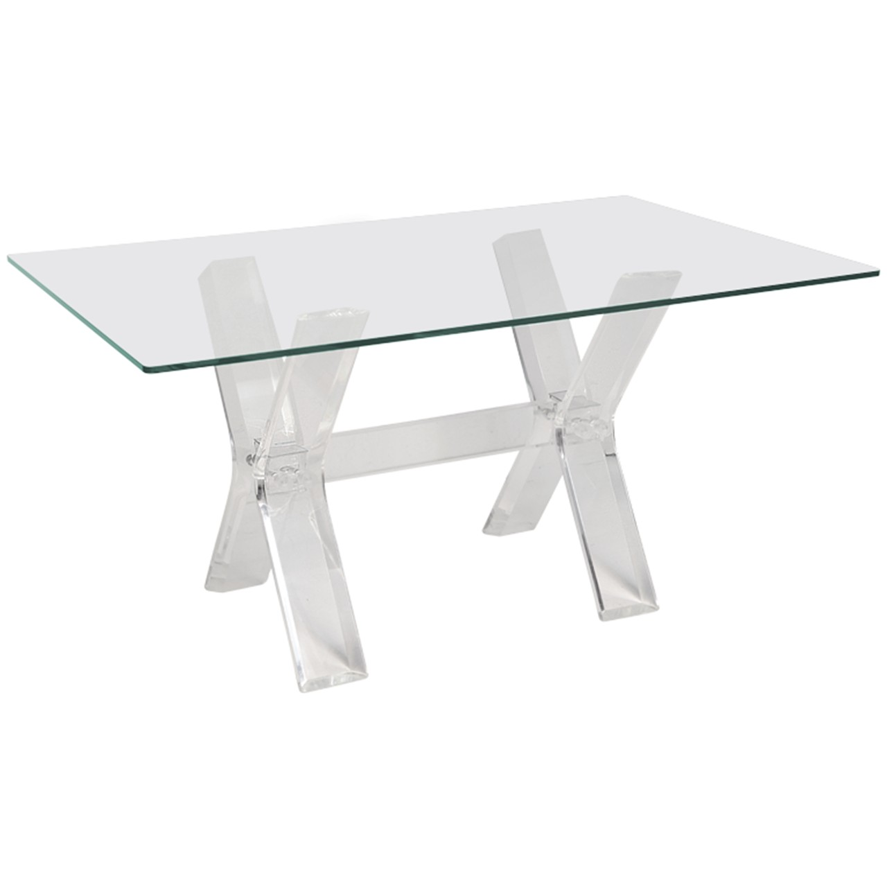 Lucite X Base Mirrored Mirror Dining Table Or Desk Base