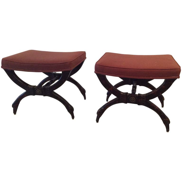 Wood Swan Pair Of X Benches Stools Vintage Hollywood