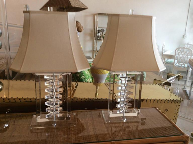 Pair Lucite Stacked Table Lamps Shade