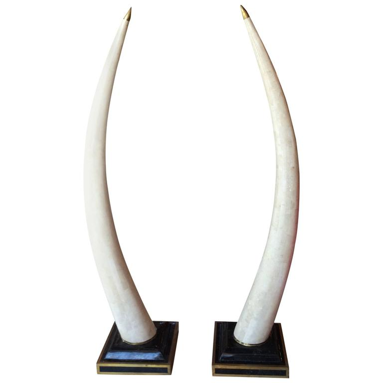 Pair Of Maitland Smith Brass Tesselated Stone And Faux Elephant Tusks
