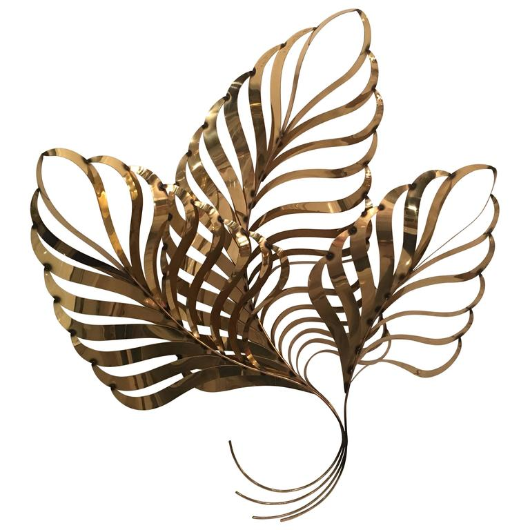 Curtis C. Jere Brass Palm Tree Frond Leaf Wall Hanging Metal ...