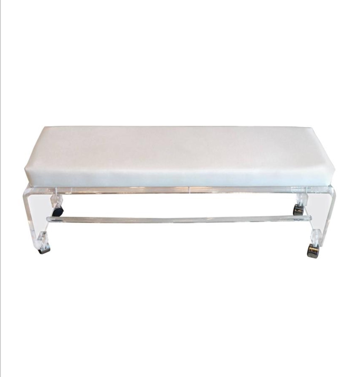 Lucite Waterfall End Of Bed Bench Seat Chair White Leather