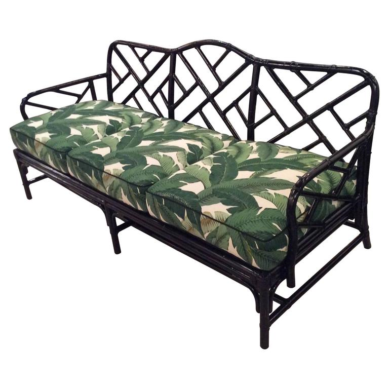 Rattan Chinese Chippendale Sofa Newly Lacquered And Upholstered Tropical  Leaf
