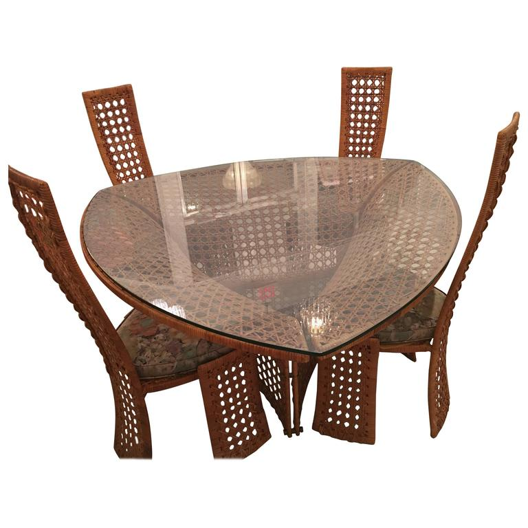Danny Ho Fong Dining Table Set And Four Side Chairs Rattan Wicker Vintage Bamboo