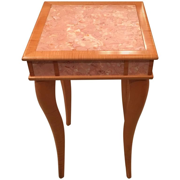 Maple Wood Coffee Table.Pink Agate Marble Stone Bird S Eye Maple Wood End Side Drink Table Vintage