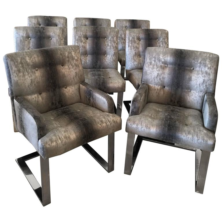 Paul evans set of eight dining chairs arm side chrome cantilever florida regency