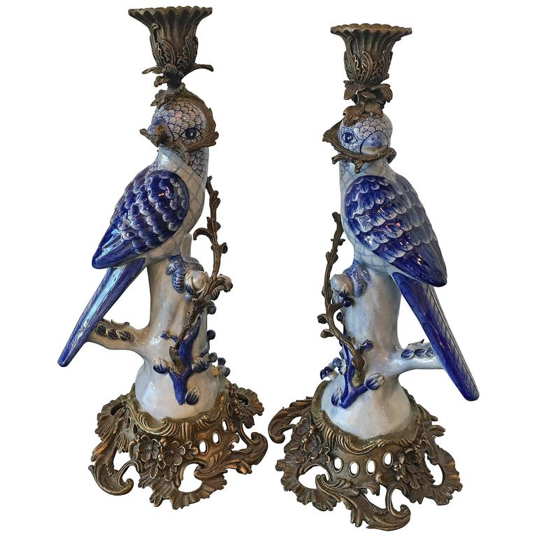 Pair Large Ceramic Blue Parrot Birds Candleholders Brass