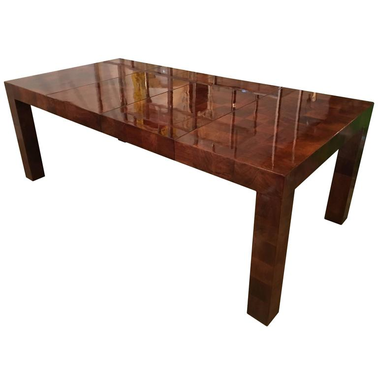 Milo Baughman Patchwork Dining Table Newly Red Burl Wood Parsons Two Leaves