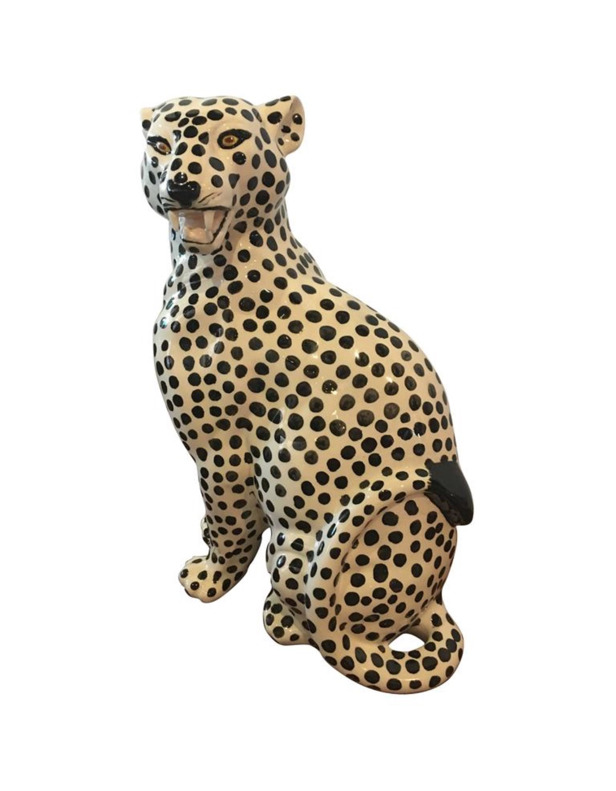 Vintage Cheetah Jaguar Large Ceramic Statue Hollywood