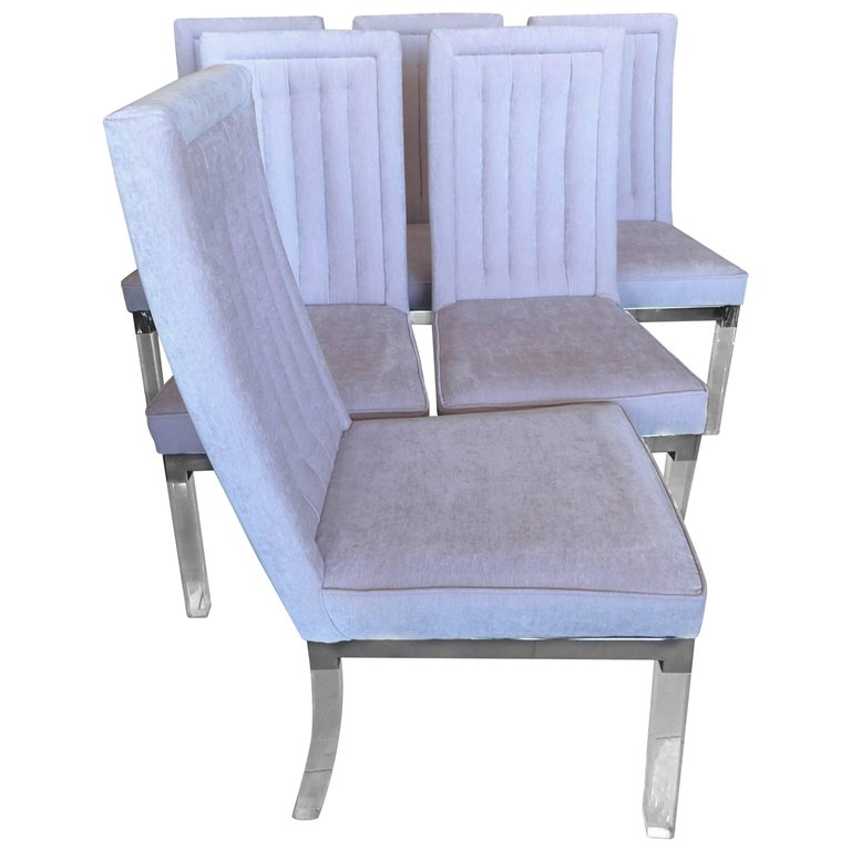 Charles Hollis Jones Lucite Chrome Side Dining Chairs Florida