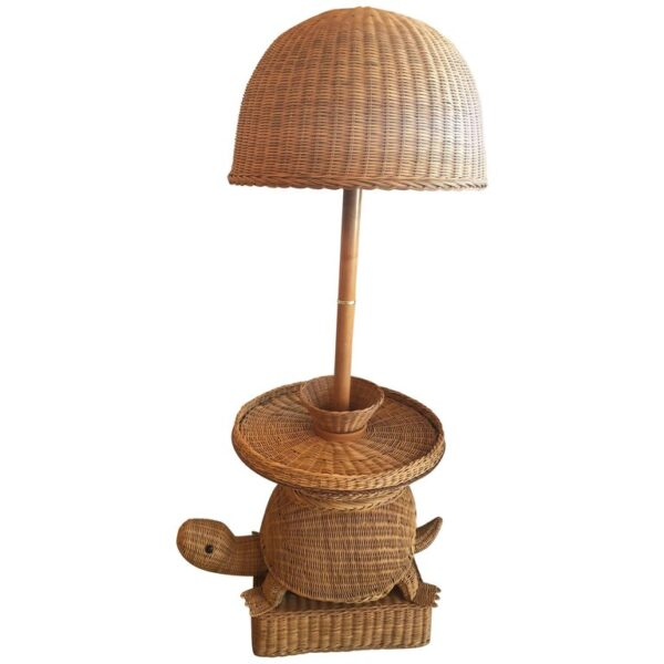 Vintage tropical wicker turtle side end table floor lamp for Tropical floor lamp with table