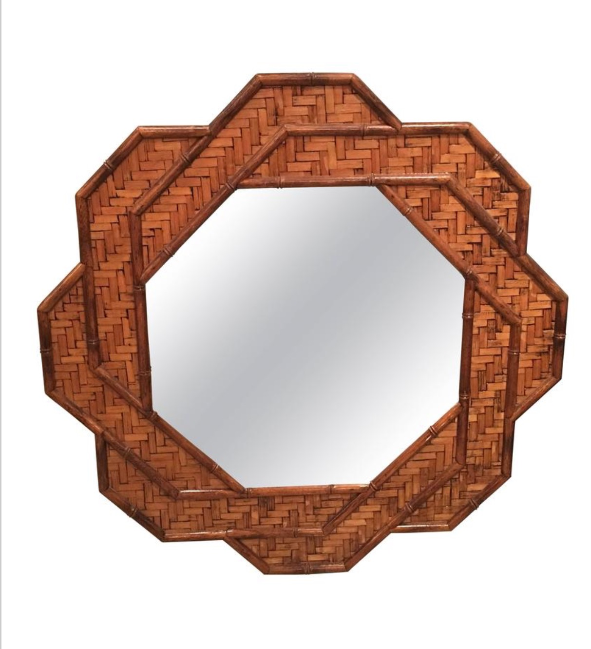 Sold Rattan Woven Reed Bamboo Wall Mirror Octogonal