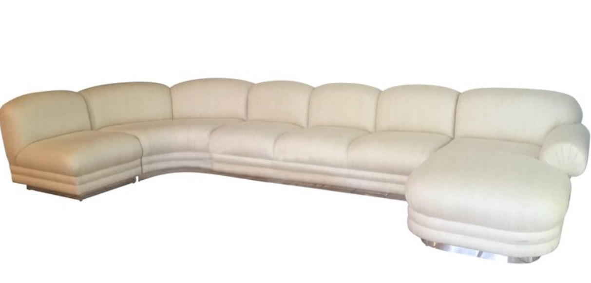 Sectional Sofa Four Piece With Chaise Chrome Base In Milo Baughman