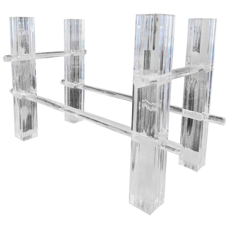Vintage Lucite Dining Table Or Desk Base Adjule Column Architectural