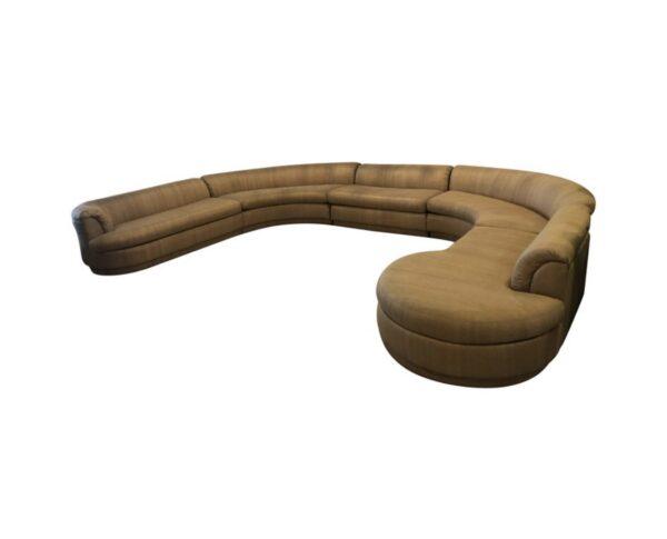 Stupendous Vintage 1970S Mid Century Modern Milo Baughman Style Curved Sectional Sofa 5 Piece Creativecarmelina Interior Chair Design Creativecarmelinacom